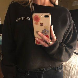 Brandy Melville John Galt black Crop sweatshirt